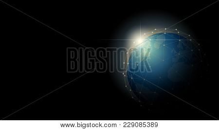 Environmental Conservation And Globalization Concept With Earth In Polygonal Sphere Network , Vector