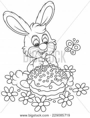 Easter Bunny With A Decorated Holiday Cake Among Flowers, A Black And White Vector Illustration In A
