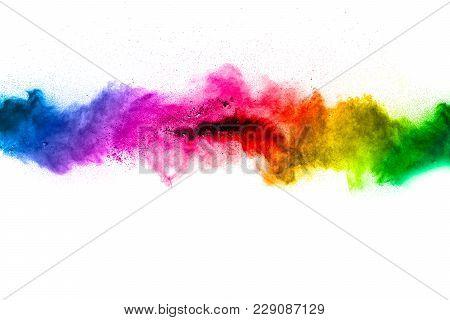 Black Powder Explosion On White Background. Abstract Black Dust Splatter On White Background. Black