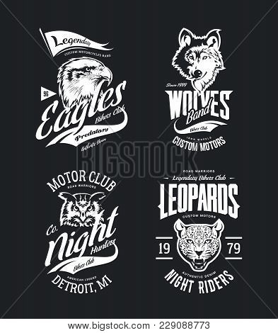 Vintage Leopard, Wolf, Eagle And Owl Bikers Club T-shirt Vector Isolated Logo Set. Premium Quality M