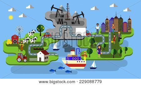 City Farm Fishing And Oil Extraction Concept Clean Industry And Poluted Vector Flat Infographic Vect