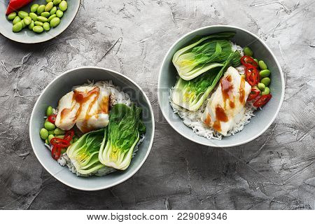 Cod, Rice, Food, Cabbage, Bok Choy Bowl Healthy Eating Top View
