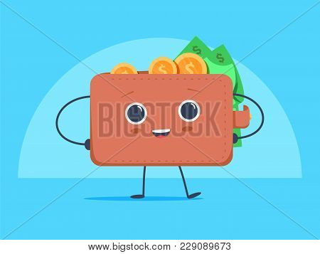 Cute Funny Cartoon Wallet With Dollar Currency And Coins Money. Vector Image Isolated On Blue Backgr