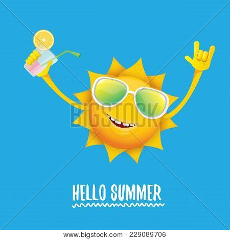 Hello Summer Rock N Roll Vector Label Or Logo. Summer Cocktail Party Poster Background With Funky Sm