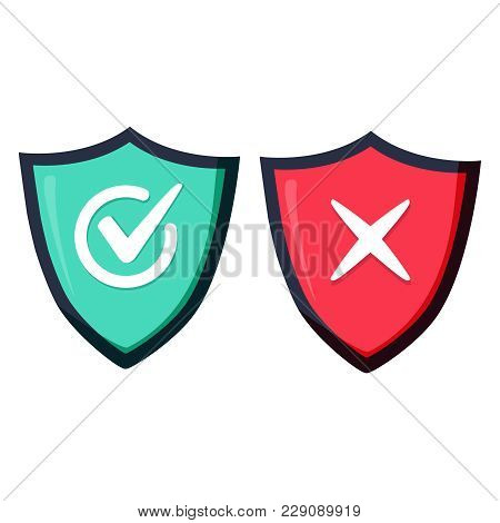 Shields And Check Marks Icons Set. Red And Green Shield With Checkmark And X Mark. Protection And Sa