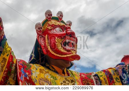 Sakti, India - August 03, 2017: Festival The Masked Dance In Takthok Monastery, Performed By The Bud