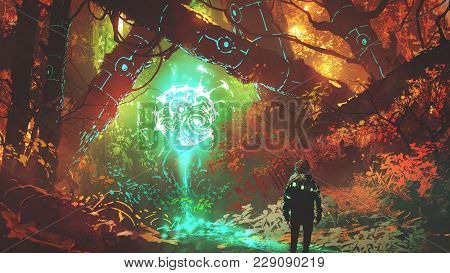 Man Looking At Glowing Futuristic Light In Enchanted Red Forest, Digital Art Style, Illustration Pai
