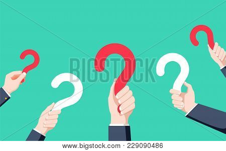 Human Hands Holding Question Mark, Faq In Flat Design Style, Vector Illustration. Vector Help Concep