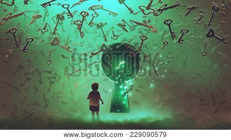 Little Boy Standing In Front Of The Keyhole With The Green Light And Many Keys Floating Around Him,