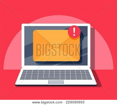 Email Notification Concept. New Email On The Laptop Screen. Vector Illustration In Flat Style. Compu