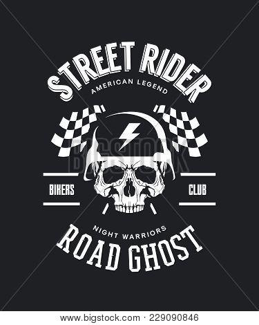 Vintage Bikers Club Vector T-shirt Logo Isolated On Dark Background. Premium Quality Skull In Helmet