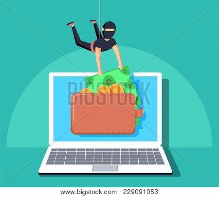 Computer Hacker Character Stealing Money Online. Vector Flat Cartoon Illustration. Internet Personal