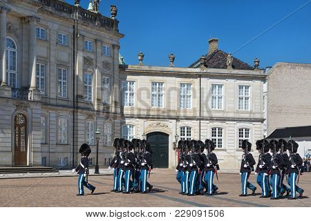 Copenhagen, Denmark - April 30, 2017: Royal Guards During The Ceremony Of Changing The Guards On The