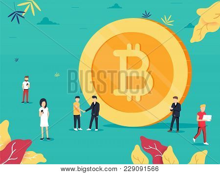 Bitcoin. Flat Design Style Web Banner Of Blockchain Technology, Bitcoin Or Altcoins And Cryptocurren