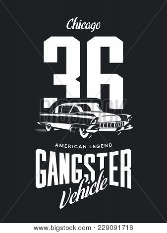 Vintage Gangster Vehicle Vector Logo Isolated On Dark Background. Premium Quality Classic Car Logoty