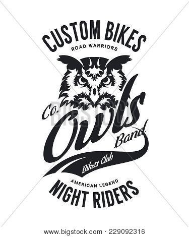 Vintage Bikers Club T-shirt Vector Logo On White Background. Premium Quality Owl Bird Night Rider Lo