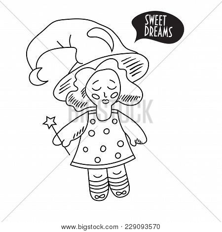 Vector Illustration: Childish Doodle Style Fairy Girl Or Pixie Kid With A Magic Wand. Cute Fairy Or