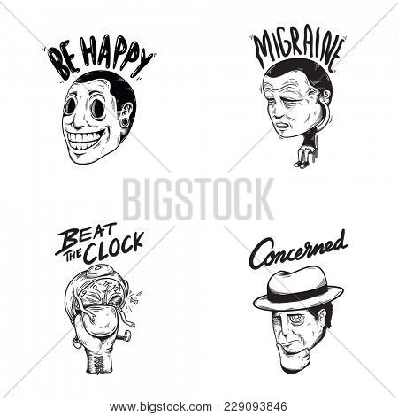 Happy Concerned Emotion Expression Feelings Graphic Icon Illustration