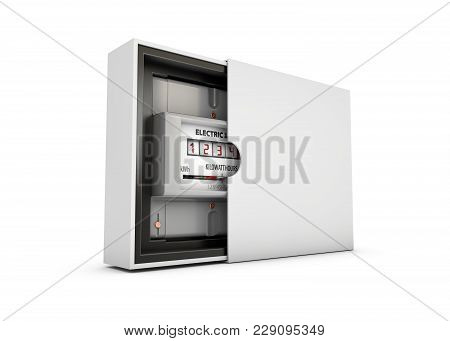 Electric Meter In The Box, Isolated On White Background 3d Illustration.