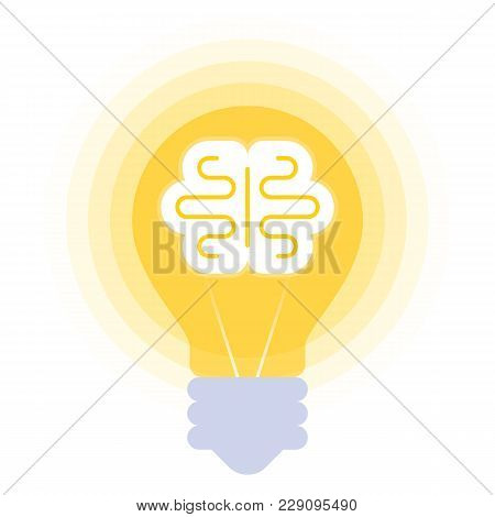 Human Brain In The Bulb. Vector Flat Illustration Of Mind Symbol In The Lamp Balloon. The Inspiratio
