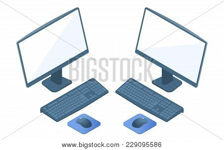 Flat Isometric Illustration Of Personal Computer Monitor, Keyboard And Mouse. Office And School Left