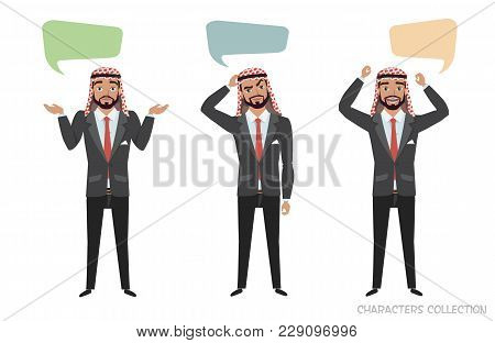 Arab Businessmen Communicate. Dialog Bubble For Communication. Guys With Emotions Of Joy, Doubt, Thi