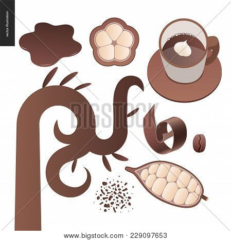 Love Spring Chocolate - Set Of Dark And White Chocolate, Choclate Chips, Coffee And Cacao Beans And