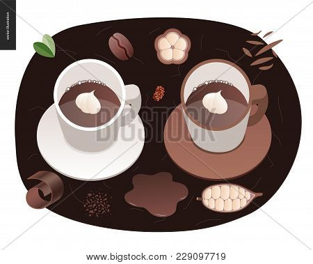 Love Spring Chocolate - Two Cups Of Coffee And Chocolate, And Cacao Beans And Chocolate Chips