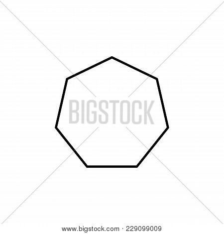 Heptagon Icon. Geometric Figure Element For Mobile Concept And Web Apps. Thin Line  Icon For Website