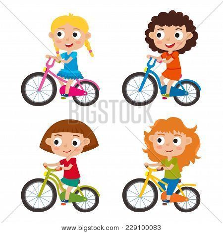 Set Of Cartoon Girls Riding A Bike Having Fun Riding Bicycles Isolated On White. Happy Kids Having F
