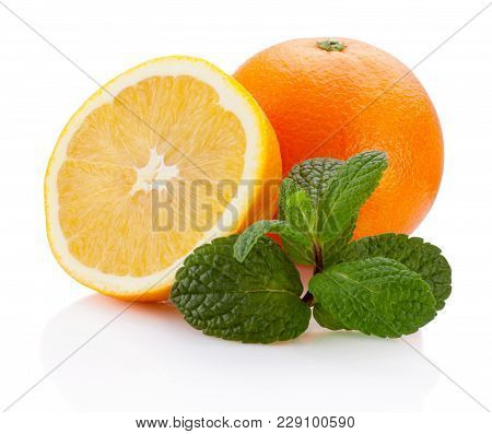 Fresh Orange Fruit With Leaf Mint Isolated On White Background