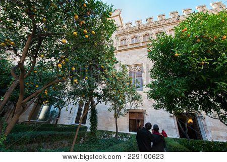 Ancient stock exchange, Valencia, Spain. Antique building. Silk exchange, outdoor. Orange garden.
