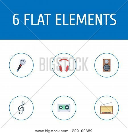 Set Of Studio Icons Flat Style Symbols With Microphone, Treble Clef, Cassette And Other Icons For Yo