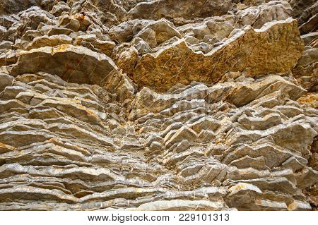 Layered Rocks, Geologic Structure, Stone Texture. Montenegro