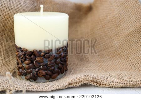 Wax Beautiful Light Beige Candle With Unflavored Wick From Below Decorated With Coffee Beans On The