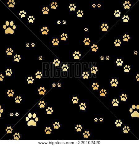 Dog Gold Paw Prints. Seamless Pattern Of Animal Gold Footprints. Dog Paw Print Seamless Pattern On B