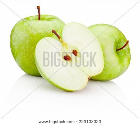 Ripe Green Apples And Half Isolated On A White Background