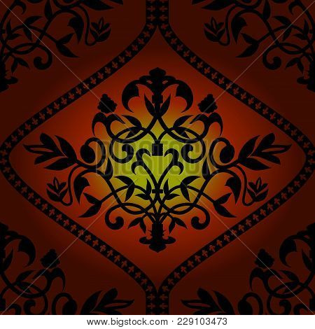 Royal Barocco Seamless Pattern On Red Background