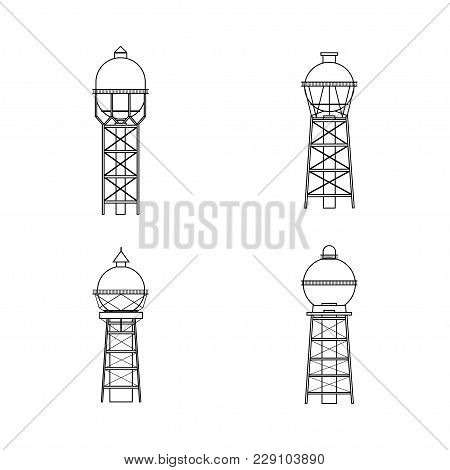 Water Tower Building Icon. Stock Vector Illustration Of Industrial Construction With Water Reservoir