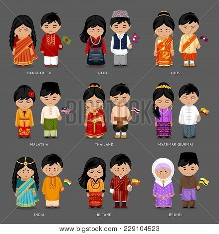 People In National Dress. Burma (myanmar), Brunei, Bhutan, Bangladesh, India, Nepal, Thailand, Malay