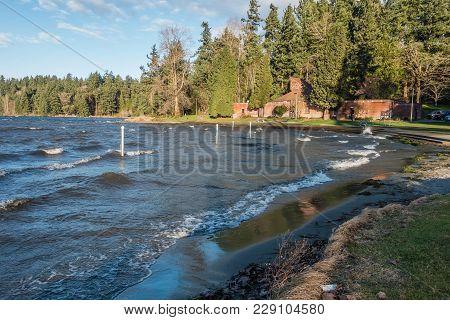 Wind On Lake Washington Creates Waves That Roll Toward Seward Park In Seattle, Washington.