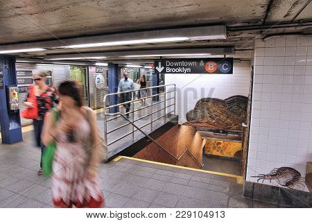 New York, Usa - July 6, 2013: People Exit Train At Museum Of Natural History Subway Station In New Y