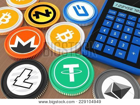 Bidding On The Exchange With Crypto Currency. Extraction Of Crypto Currency. Chips With Crypto Curre