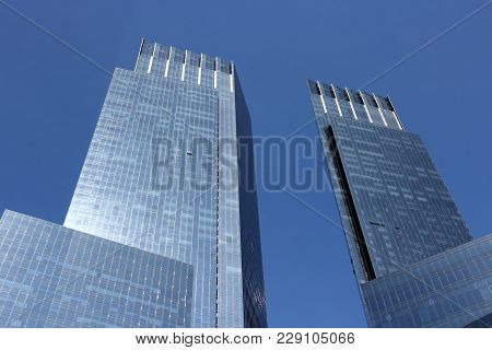 New York, Usa - July 6, 2013: Architecture View Of Columbus Circle In New York. Columbus Circle With
