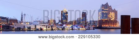 Hamburg, Germany - February 27, 2018: Elbe Philharmonic Hall (elbphilharmonie) And River Elbe Panora
