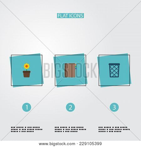 Set Of Office Icons Flat Style Symbols With Wastebasket, Flowerpot, Address Book And Other Icons For