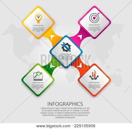 Modern Vector Illustration 3D. Template Infographics With Five Elements Rectangles. Designed For Bus
