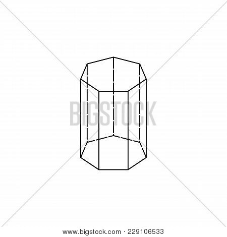 Heptagonal Prism Icon. Geometric Figure Element For Mobile Concept And Web Apps. Thin Line  Icon For