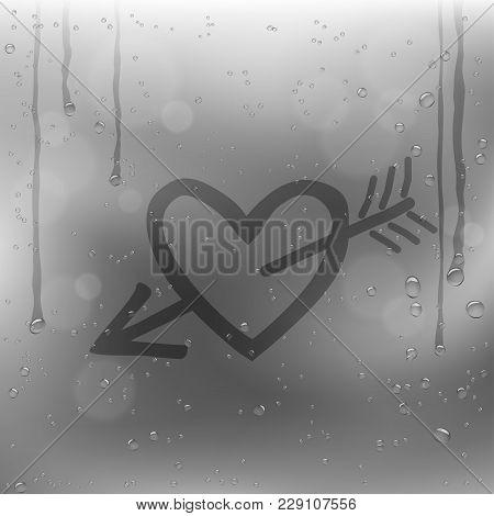 Cupid Arrow Heart Draw On Rainy Window. Sadness Romantic Rain Template On Glass Surface