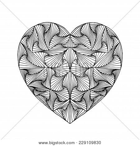 Zentangle Hand Drawn Decorative Heart With Paradox Tangle. Vector Design Element.